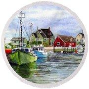 Peggys Cove Nova Scotia Watercolor Round Beach Towel