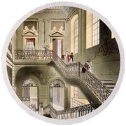 Hall And Staircase At The British Round Beach Towel