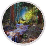 Hall Valley Moose Round Beach Towel by J Griff Griffin