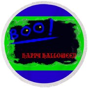 Round Beach Towel featuring the digital art Halloween Boo by Christopher Rowlands