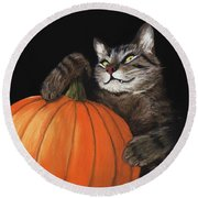 Halloween Cat Round Beach Towel by Anastasiya Malakhova