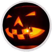 Halloween - Smiling Jack O' Lantern Round Beach Towel