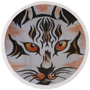Round Beach Towel featuring the painting Halloween Wild Cat by Teresa White