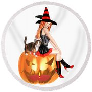 Halloween Witch Nicki With Kitten Round Beach Towel by Renate Janssen