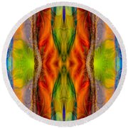 Halls Of Clarity Abstract Healing Artwork By Omaste Witkowski Round Beach Towel