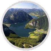 Hallstatt Lake Austria Round Beach Towel