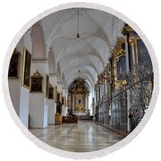 Round Beach Towel featuring the photograph Hallway Of A Church Munich Germany by Imran Ahmed