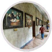 Hallway Of Paintings Round Beach Towel
