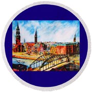 Hamburg - The Beauty At The River Round Beach Towel