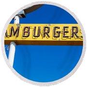 Hamburgers Old Neon Sign Round Beach Towel