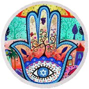 Hamesh Evil Eye Round Beach Towel