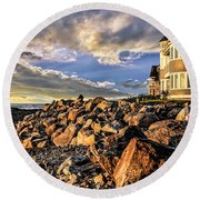 Hampton Beach Sunrise Round Beach Towel