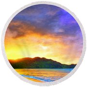 Hanalei Sunset Round Beach Towel