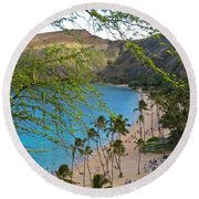 Hanauma Bay Nature Preserve Beach Through Monkeypod Tree Round Beach Towel by Michele Myers