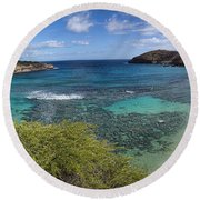 Hanauma Bay Panorama Round Beach Towel