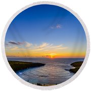 Hanauma Bay Sunrise Round Beach Towel