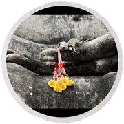 Hands Of Buddha Round Beach Towel