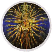 Hands Of Compassion Round Beach Towel