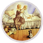 Hands Of Devotion - Childhood Round Beach Towel by Linda Simon
