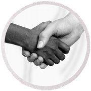 Handshake Black And White Round Beach Towel
