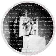 Handwritten Gettysburg Address Round Beach Towel