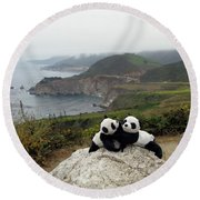Round Beach Towel featuring the photograph Hang On- You Got A Friend by Ausra Huntington nee Paulauskaite