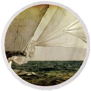 Round Beach Towel featuring the photograph Hanged On Wind In A Mediterranean Vintage Tall Ship Race  by Pedro Cardona