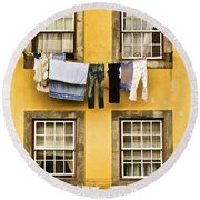 Hanging Clothes Of Old World Europe Round Beach Towel
