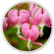 Hanging Hearts In Pink And White Round Beach Towel by Eunice Miller