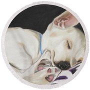 Round Beach Towel featuring the painting Hanks Sleeping by Jeanne Fischer