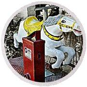 Hannibal Mechanical Riding Horse Round Beach Towel