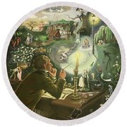 Hans Christian Andersen Round Beach Towel by Anne Grahame Johnstone