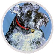 Round Beach Towel featuring the painting Hans The Schnauzer Original Painting Forsale by Bob and Nadine Johnston