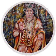 Hanuman Round Beach Towel