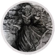 Round Beach Towel featuring the drawing Happiness by Laurie L