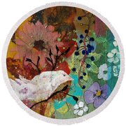Round Beach Towel featuring the painting Happiness by Robin Maria Pedrero