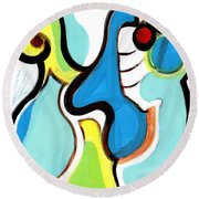 Round Beach Towel featuring the painting Happiness by Stephen Lucas