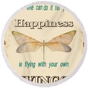 Happinesstypography Round Beach Towel