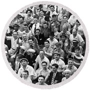 Happy Baseball Fans In The Bleachers At Yankee Stadium. Round Beach Towel