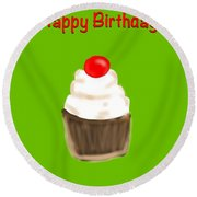 Round Beach Towel featuring the digital art Happy Bday W A Cherry On Top by Christine Fournier