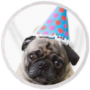 Happy Birthday Pug Card Round Beach Towel