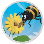 Happy Cartoon Bee With Yellow Flower Round Beach Towel
