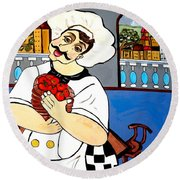 Round Beach Towel featuring the painting Chef  Happy Chef by Nora Shepley