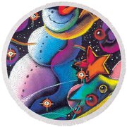 Happy Christmas Round Beach Towel