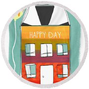 Happy Day Card Round Beach Towel