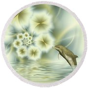 Happy Dolphin In A Surreal World Round Beach Towel