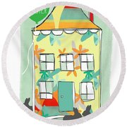 Happy Easter Card Round Beach Towel