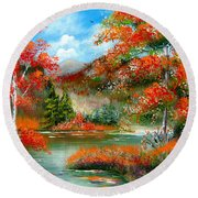 Happy Ever After Autumn  Round Beach Towel