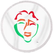 Happy Face Round Beach Towel