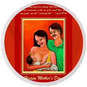 Round Beach Towel featuring the mixed media Happy Family by Cyril Maza